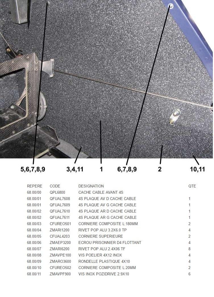 QPL6800 CACHE CABLE AVANT QS