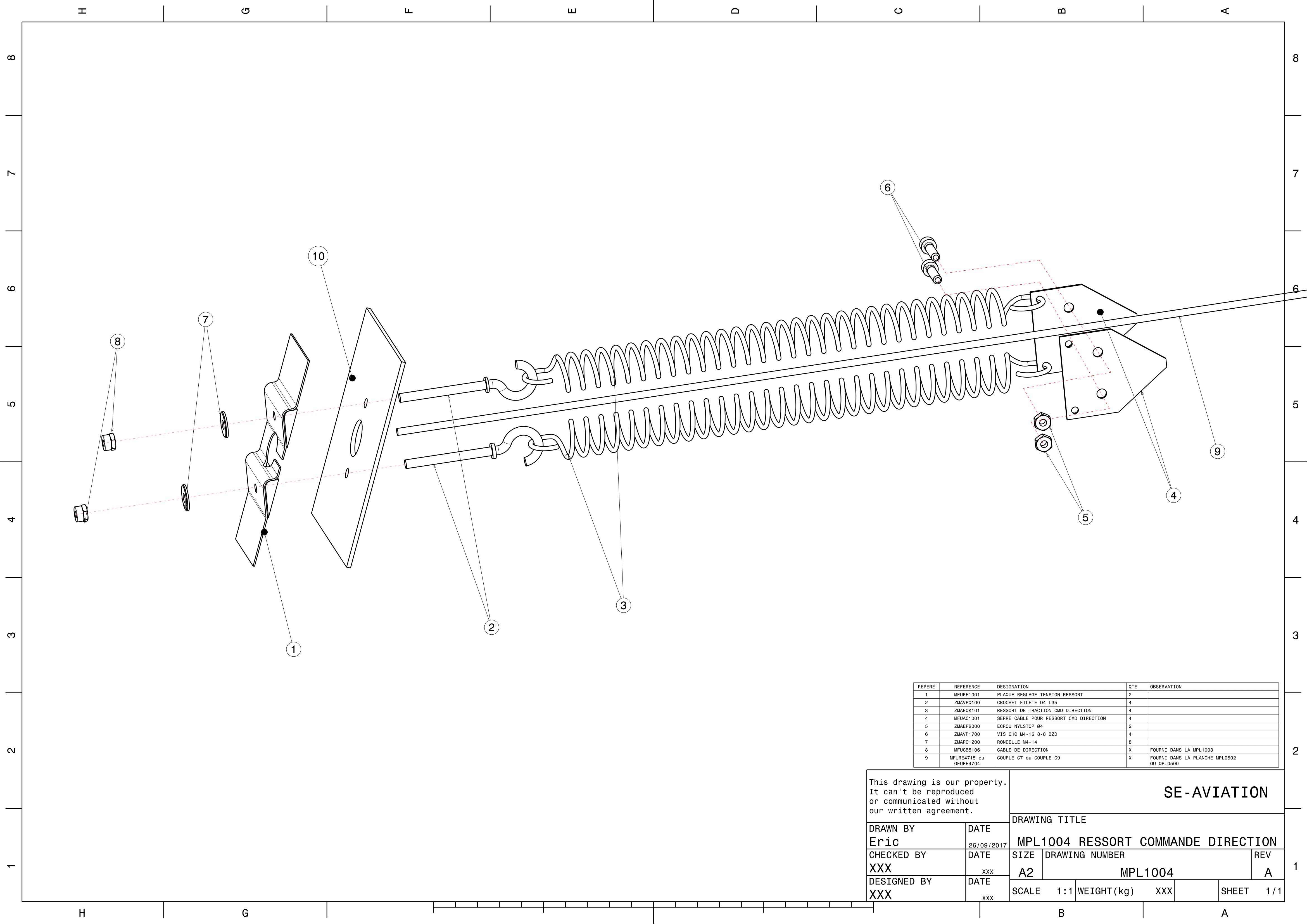 MPL1004 - RESSORT COMMANDE DIRECTION 4S